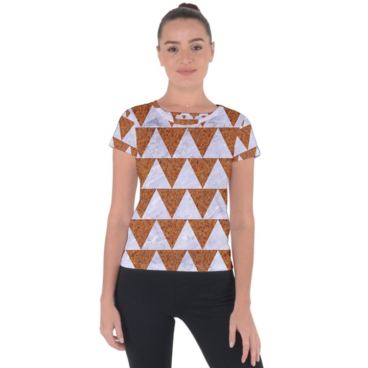 TRIANGLE2 WHITE MARBLE & RUSTED METAL Short Sleeve Sports Top