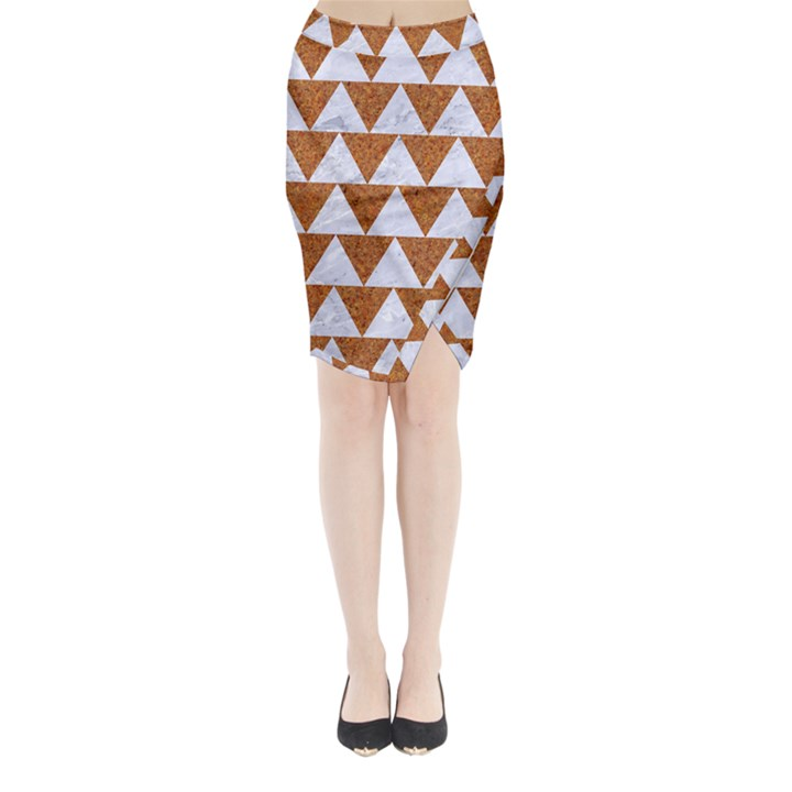 TRIANGLE2 WHITE MARBLE & RUSTED METAL Midi Wrap Pencil Skirt