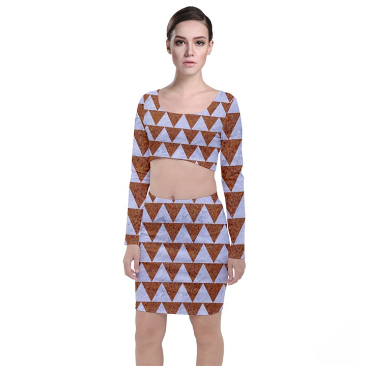 TRIANGLE2 WHITE MARBLE & RUSTED METAL Long Sleeve Crop Top & Bodycon Skirt Set