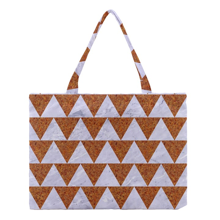 TRIANGLE2 WHITE MARBLE & RUSTED METAL Medium Tote Bag