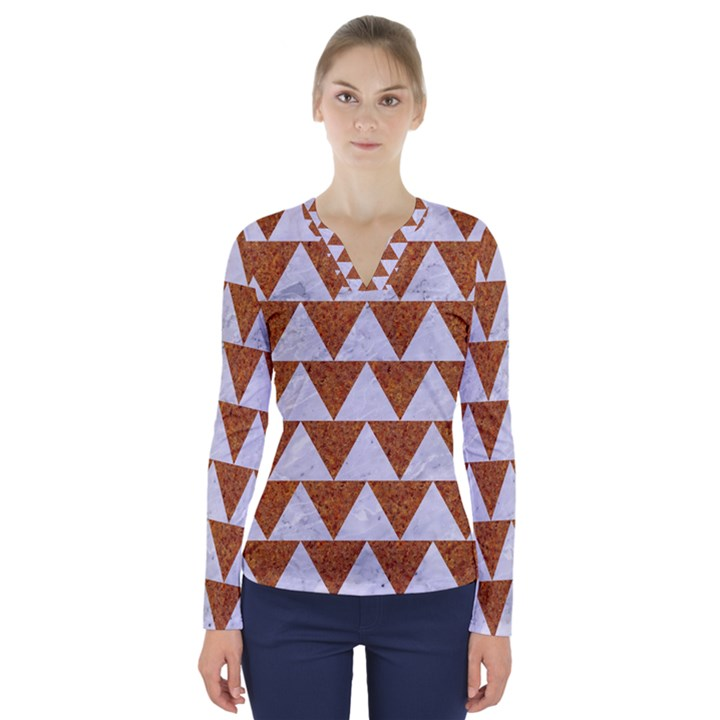 TRIANGLE2 WHITE MARBLE & RUSTED METAL V-Neck Long Sleeve Top