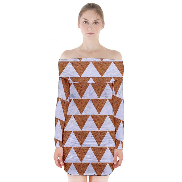 TRIANGLE2 WHITE MARBLE & RUSTED METAL Long Sleeve Off Shoulder Dress