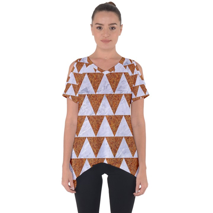TRIANGLE2 WHITE MARBLE & RUSTED METAL Cut Out Side Drop Tee