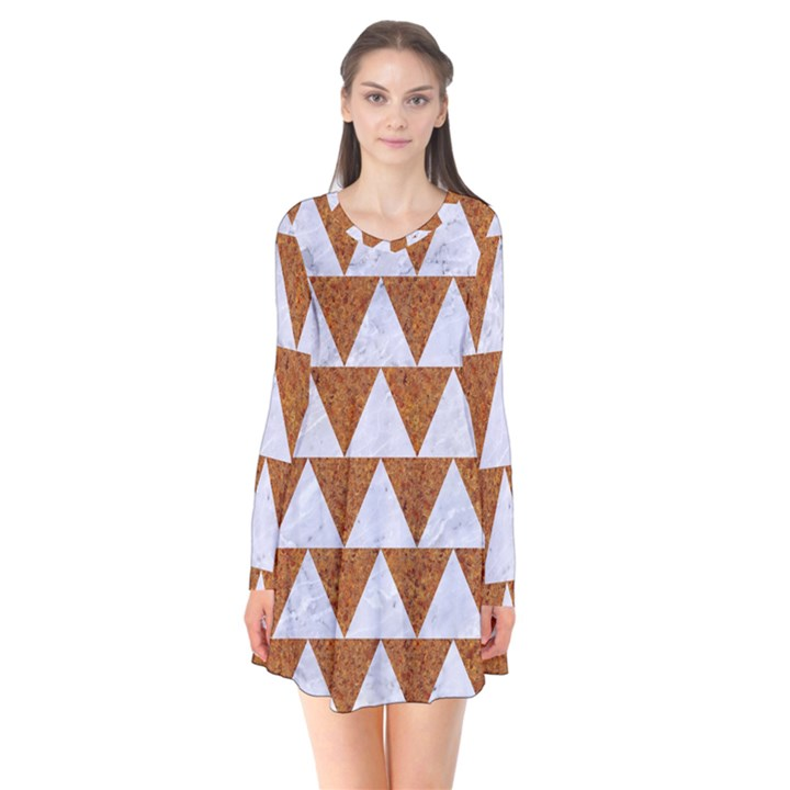 TRIANGLE2 WHITE MARBLE & RUSTED METAL Flare Dress