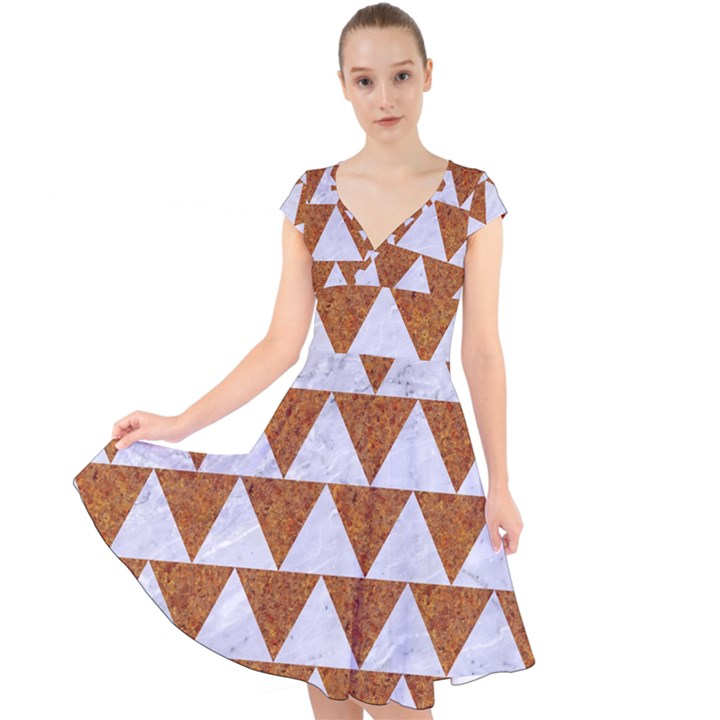 TRIANGLE2 WHITE MARBLE & RUSTED METAL Cap Sleeve Front Wrap Midi Dress