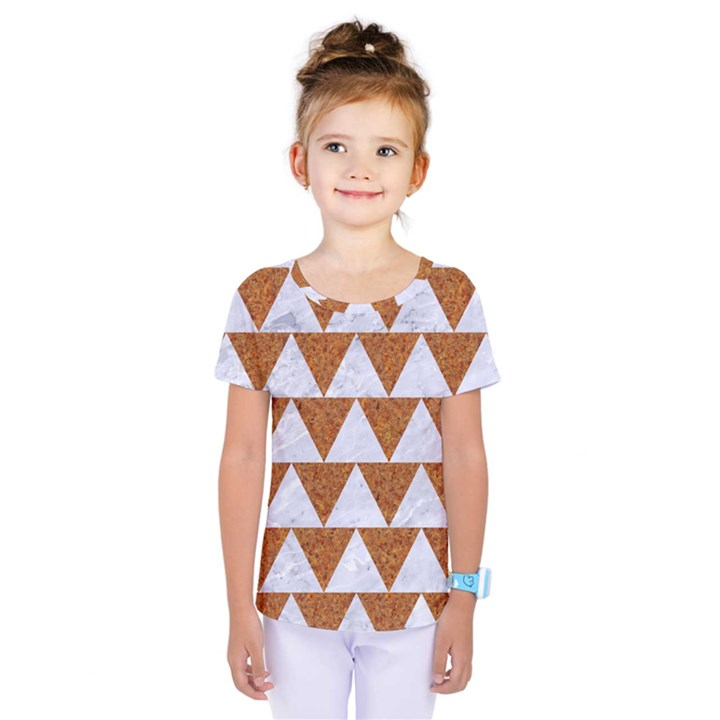 TRIANGLE2 WHITE MARBLE & RUSTED METAL Kids  One Piece Tee