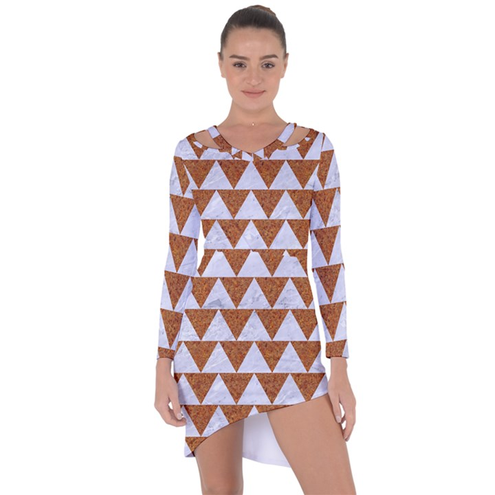 TRIANGLE2 WHITE MARBLE & RUSTED METAL Asymmetric Cut-Out Shift Dress
