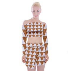 Triangle2 White Marble & Rusted Metal Off Shoulder Top With Mini Skirt Set