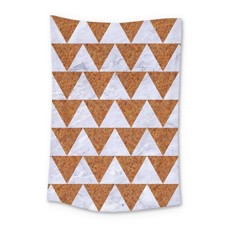 TRIANGLE2 WHITE MARBLE & RUSTED METAL Small Tapestry