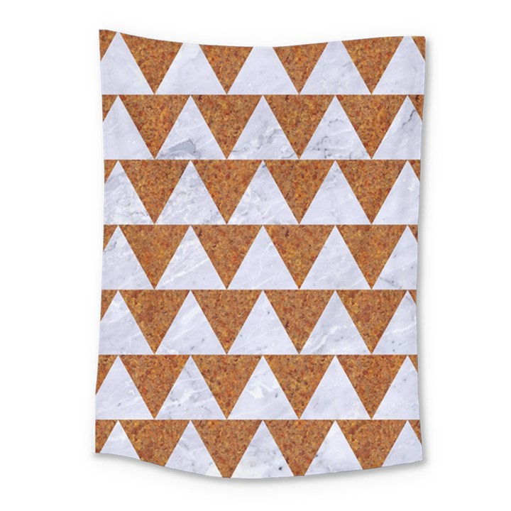 TRIANGLE2 WHITE MARBLE & RUSTED METAL Medium Tapestry