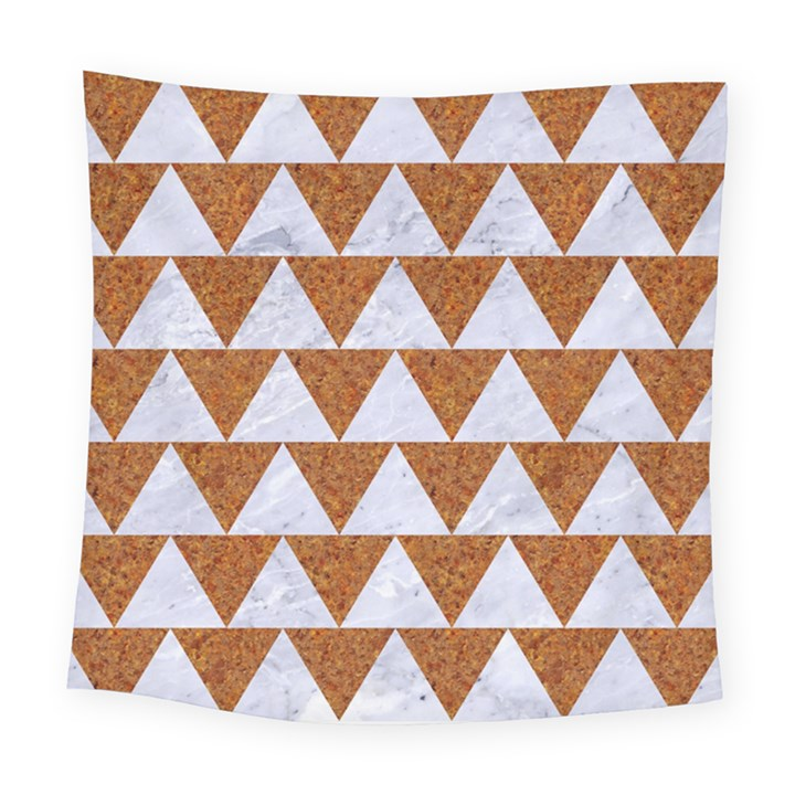 TRIANGLE2 WHITE MARBLE & RUSTED METAL Square Tapestry (Large)