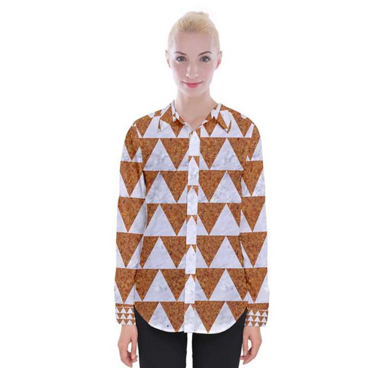TRIANGLE2 WHITE MARBLE & RUSTED METAL Womens Long Sleeve Shirt