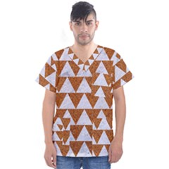 Triangle2 White Marble & Rusted Metal Men s V Neck Scrub Top