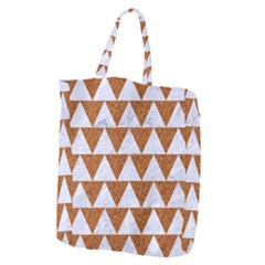 Triangle2 White Marble & Rusted Metal Giant Grocery Zipper Tote