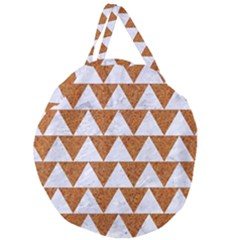 Triangle2 White Marble & Rusted Metal Giant Round Zipper Tote