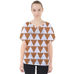 Triangle2 White Marble & Rusted Metal V Neck Dolman Drape Top