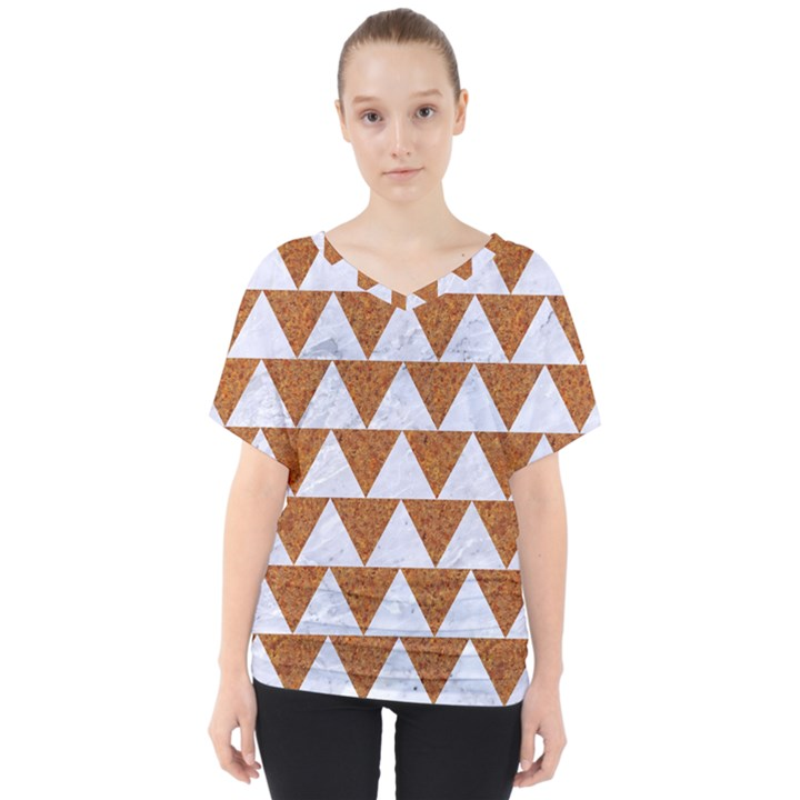 TRIANGLE2 WHITE MARBLE & RUSTED METAL V-Neck Dolman Drape Top