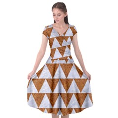 Triangle2 White Marble & Rusted Metal Cap Sleeve Wrap Front Dress