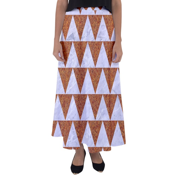 TRIANGLE2 WHITE MARBLE & RUSTED METAL Flared Maxi Skirt