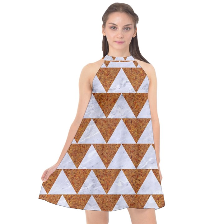 TRIANGLE2 WHITE MARBLE & RUSTED METAL Halter Neckline Chiffon Dress