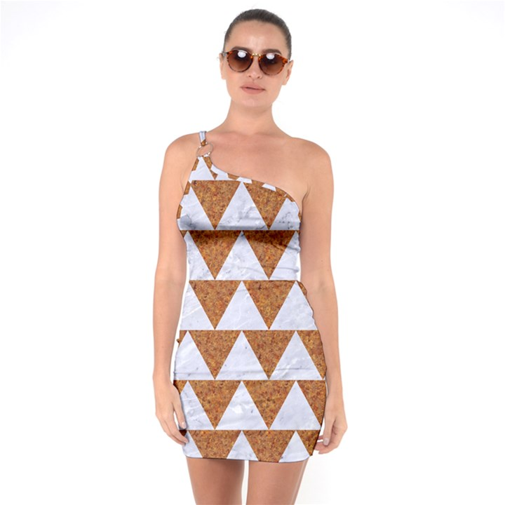 TRIANGLE2 WHITE MARBLE & RUSTED METAL One Soulder Bodycon Dress
