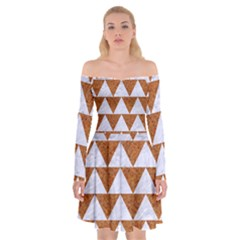 Triangle2 White Marble & Rusted Metal Off Shoulder Skater Dress