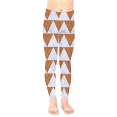 Triangle2 White Marble & Rusted Metal Kids  Legging