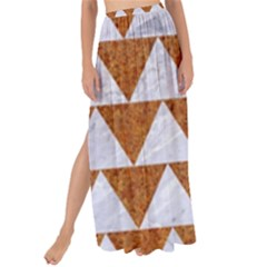 Triangle2 White Marble & Rusted Metal Maxi Chiffon Tie Up Sarong