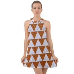 Triangle2 White Marble & Rusted Metal Halter Tie Back Chiffon Dress