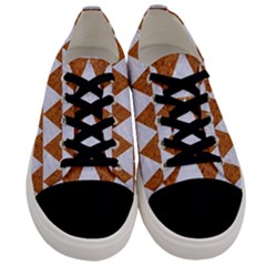 Triangle2 White Marble & Rusted Metal Men s Low Top Canvas Sneakers