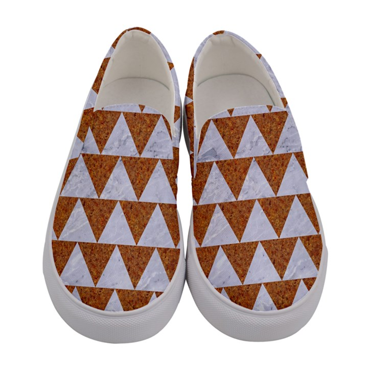 TRIANGLE2 WHITE MARBLE & RUSTED METAL Women s Canvas Slip Ons