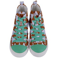 Triangle2 White Marble & Rusted Metal Women s Mid Top Canvas Sneakers