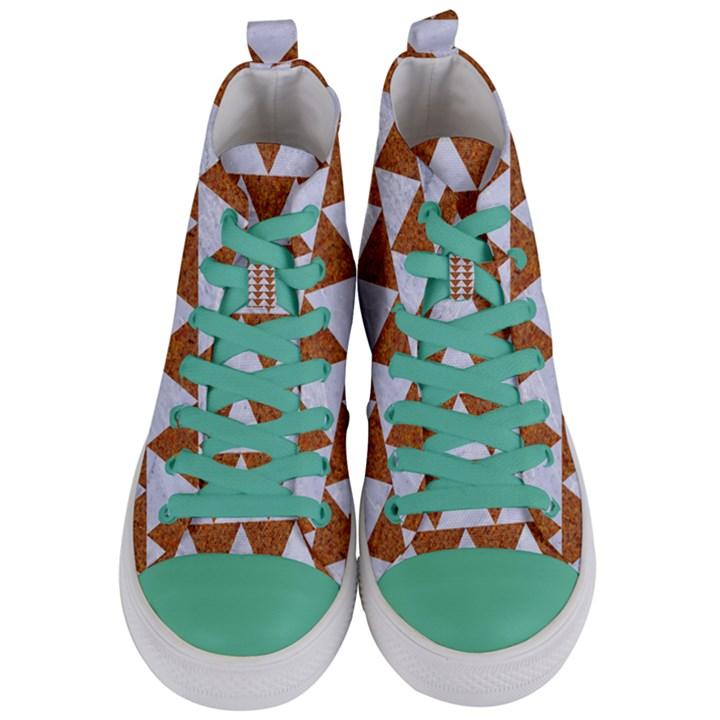 TRIANGLE2 WHITE MARBLE & RUSTED METAL Women s Mid-Top Canvas Sneakers