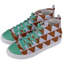 TRIANGLE2 WHITE MARBLE & RUSTED METAL Women s Mid-Top Canvas Sneakers View2