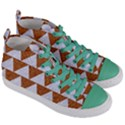 TRIANGLE2 WHITE MARBLE & RUSTED METAL Women s Mid-Top Canvas Sneakers View3