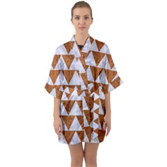 Triangle2 White Marble & Rusted Metal Quarter Sleeve Kimono Robe