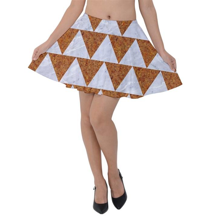 TRIANGLE2 WHITE MARBLE & RUSTED METAL Velvet Skater Skirt