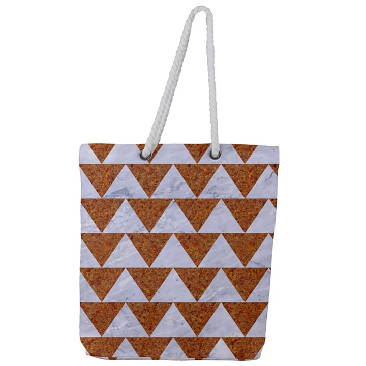 TRIANGLE2 WHITE MARBLE & RUSTED METAL Full Print Rope Handle Tote (Large)