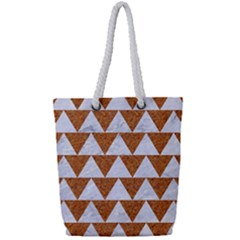 Triangle2 White Marble & Rusted Metal Full Print Rope Handle Tote (small)