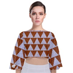 Triangle2 White Marble & Rusted Metal Tie Back Butterfly Sleeve Chiffon Top