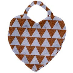 Triangle2 White Marble & Rusted Metal Giant Heart Shaped Tote
