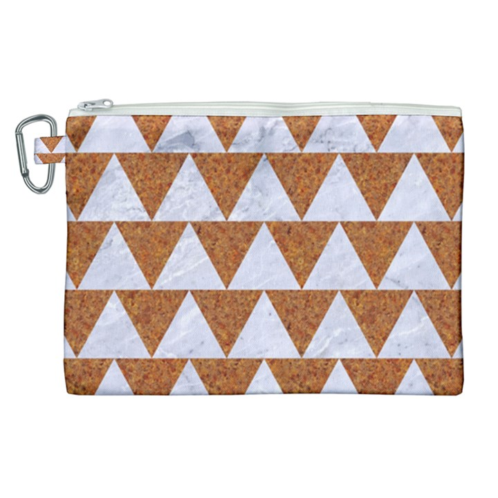 TRIANGLE2 WHITE MARBLE & RUSTED METAL Canvas Cosmetic Bag (XL)