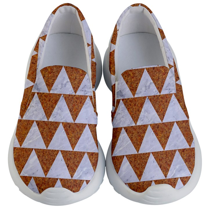 TRIANGLE2 WHITE MARBLE & RUSTED METAL Kid s Lightweight Slip Ons
