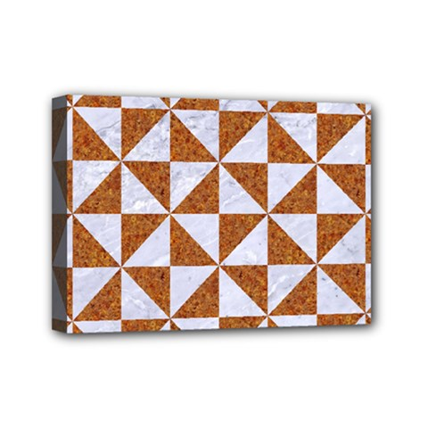 Triangle1 White Marble & Rusted Metal Mini Canvas 7  X 5