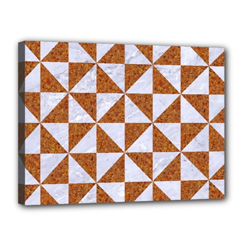 Triangle1 White Marble & Rusted Metal Canvas 16  X 12
