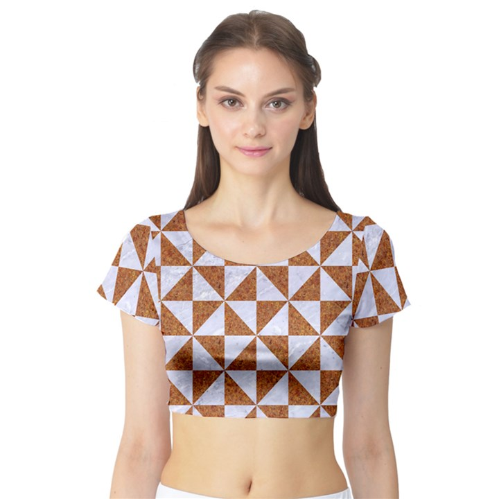 TRIANGLE1 WHITE MARBLE & RUSTED METAL Short Sleeve Crop Top