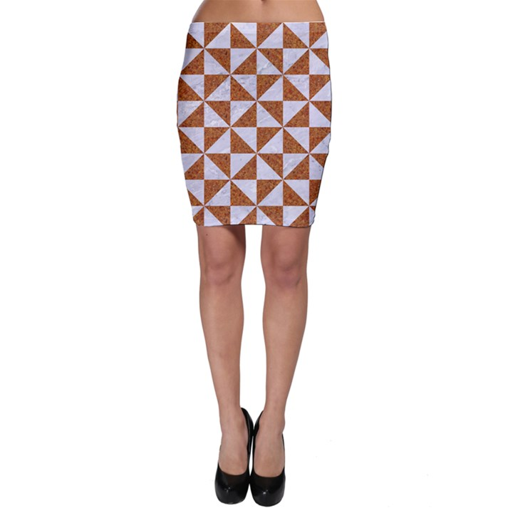 TRIANGLE1 WHITE MARBLE & RUSTED METAL Bodycon Skirt