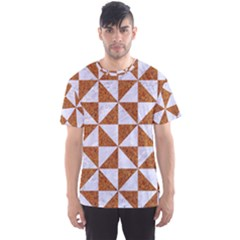 Triangle1 White Marble & Rusted Metal Men s Sports Mesh Tee