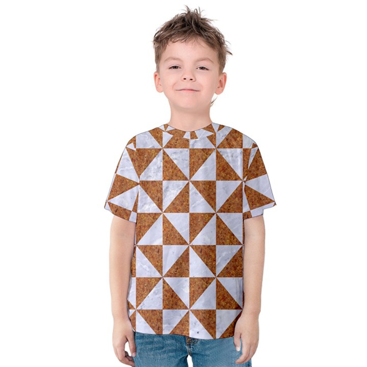 TRIANGLE1 WHITE MARBLE & RUSTED METAL Kids  Cotton Tee