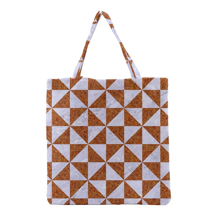 TRIANGLE1 WHITE MARBLE & RUSTED METAL Grocery Tote Bag